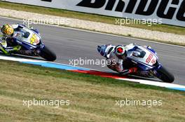 16.08.2009 Brno, Czech Republic,  Jorge Lorenzo (ESP), Fiat Yamaha Team and Valentino Rossi (ITA), Fiat Yamaha Team - MotoGP World Championship, Rd. 11, CARDION AB GRAND PRIX CESKE REPUBLIKY