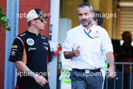 (L to R): Kimi Raikkonen (FIN) Lotus F1 Team with Beat Zehnder (SUI) Sauber F1 Team Manager. 23.08.2013. Formula 1 World Championship, Rd 11, Belgian Grand Prix, Spa Francorchamps, Belgium, Practice Day.