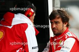 (L to R): Andrea Stella (ITA) Ferrari Race Engineer with Fernando Alonso (ESP) Ferrari. 23.11.2013. Formula 1 World Championship, Rd 19, Brazilian Grand Prix, Sao Paulo, Brazil, Qualifying Day.