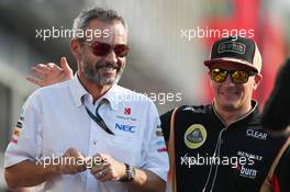 (L to R): Beat Zehnder (SUI) Sauber F1 Team Manager with Kimi Raikkonen (FIN) Lotus F1 Team. 06.09.2013. Formula 1 World Championship, Rd 12, Italian Grand Prix, Monza, Italy, Practice Day.