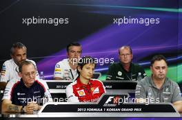 The FIA Press Conference (From back row (L to R)): Beat Zehnder (SUI) Sauber F1 Team Manager; Andy Stevenson (GBR) Sahara Force India F1 Team Manager; Graham Watson (GBR) Caterham F1 Team Manager; Dickie Standford (GBR) Williams Team Manager; Massimo Rivola (ITA) Ferrari Sporting Director; Ron Meadows (GBR) Mercedes GP Team Manager. 04.10.2013. Formula 1 World Championship, Rd 14, Korean Grand Prix, Yeongam, South Korea, Practice Day.