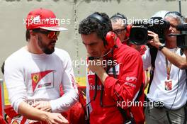(L to R): Fernando Alonso (ESP) Ferrari with Andrea Stella (ITA) Ferrari Race Engineer on the grid. 09.11.2014. Formula 1 World Championship, Rd 18, Brazilian Grand Prix, Sao Paulo, Brazil, Race Day.