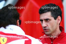 (L to R): Fernando Alonso (ESP) Ferrari with Andrea Stella (ITA) Ferrari Race Engineer. 06.11.2014. Formula 1 World Championship, Rd 18, Brazilian Grand Prix, Sao Paulo, Brazil, Preparation Day.