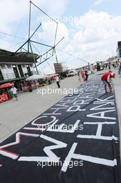 A painted message of support for Michael Schumacher (GER). 26.07.2014. Formula 1 World Championship, Rd 11, Hungarian Grand Prix, Budapest, Hungary, Qualifying Day.