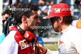 Fernando Alonso (ESP) Ferrari with Andrea Stella (ITA) Ferrari Race Engineer on the grid. 07.09.2014. Formula 1 World Championship, Rd 13, Italian Grand Prix, Monza, Italy, Race Day.
