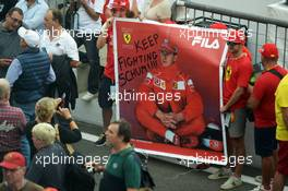 A banner for Michael Schumacher (GER). 04.09.2014. Formula 1 World Championship, Rd 13, Italian Grand Prix, Monza, Italy, Preparation Day.