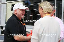 (L to R): Norbert Vettel (GER) with Sabine Kehm (GER) Manager of Michael Schumacher (GER). 10.05.2015. Formula 1 World Championship, Rd 5, Spanish Grand Prix, Barcelona, Spain, Race Day.