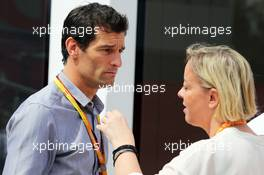 (L to R): Mark Webber (AUS) Porsche Team WEC Driver with Sabine Kehm (GER) Manager of Michael Schumacher (GER). 10.05.2015. Formula 1 World Championship, Rd 5, Spanish Grand Prix, Barcelona, Spain, Race Day.