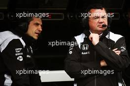 (L to R): Andrea Stella (ITA) McLaren Race Engineer with Eric Boullier (FRA) McLaren Racing Director. 18.03.2016. Formula 1 World Championship, Rd 1, Australian Grand Prix, Albert Park, Melbourne, Australia, Practice Day.