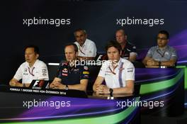 The FIA Press Conference (from back row (L to R)): Beat Zehnder (SUI) Sauber F1 Team Manager; Graham Watson (GBR) Scuderia Toro Rosso Team Manager; Luca Furbatto (ITA) Manor Racing Head of Design; Yusuke Hasegawa (JPN) Head of Honda F1 Programme; Paul Monaghan (GBR) Red Bull Racing Chief Engineer; Rob Smedley (GBR) Williams Head of Vehicle Performance.  01.07.2016. Formula 1 World Championship, Rd 9, Austrian Grand Prix, Spielberg, Austria, Practice Day.