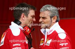 (L to R): James Allison (GBR) Ferrari Chassis Technical Director with Maurizio Arrivabene (ITA) Ferrari Team Principal. 24.02.2016. Formula One Testing, Day Three, Barcelona, Spain. Wednesday.