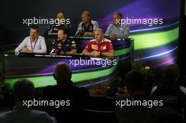 The FIA Press Conference (From back row (L to R)): Franz Tost (AUT) Scuderia Toro Rosso Team Principal; Robert Fernley (GBR) Sahara Force India F1 Team Deputy Team Principal; Dave Ryan (NZL) Manor Racing Racing Director; Guenther Steiner (ITA) Haas F1 Team Prinicipal; Christian Horner (GBR) Red Bull Racing Team Principal; Jock Clear (GBR) Ferrari Engineering Director.  10.06.2016. Formula 1 World Championship, Rd 7, Canadian Grand Prix, Montreal, Canada, Practice Day.