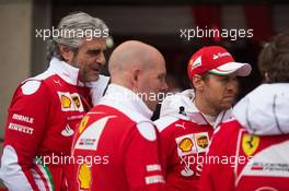 (L to R): Maurizio Arrivabene (ITA) Ferrari Team Principal with Jock Clear (GBR) Ferrari Engineering Director and Sebastian Vettel (GER) Ferrari. 09.06.2016. Formula 1 World Championship, Rd 7, Canadian Grand Prix, Montreal, Canada, Preparation Day.