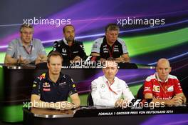 The FIA Press Conference (From back row (L to R)): Pat Fry (GBR) Manor Racing Engineering Consultant; Matt Morris (GBR) McLaren Engineering Director; Otmar Szafnauer (USA) Sahara Force India F1 Chief Operating Officer; Paul Monaghan (GBR) Red Bull Racing Chief Engineer; Pat Fry (GBR) Manor Racing Engineering Consultant; Jock Clear (GBR) Ferrari Engineering Director.  29.07.2016. Formula 1 World Championship, Rd 12, German Grand Prix, Hockenheim, Germany, Practice Day.