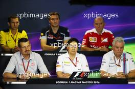 The FIA Press Conference (from back row (L to R)): Remi Taffin (FRA) Renault Sport F1 Engine Technical Director; James Key (GBR) Scuderia Toro Rosso Technical Director; Jock Clear (GBR) Ferrari Engineering Director; Guenther Steiner (ITA) Haas F1 Team Prinicipal; Monisha Kaltenborn (AUT) Sauber Team Principal; Pat Symonds (GBR) Williams Chief Technical Officer.  22.07.2016. Formula 1 World Championship, Rd 11, Hungarian Grand Prix, Budapest, Hungary, Practice Day.