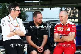 Andrew Shovlin (GBR) Mercedes AMG F1 Engineer (Left) and Jock Clear (GBR) Ferrari Engineering Director (Right). 21.07.2016. Formula 1 World Championship, Rd 11, Hungarian Grand Prix, Budapest, Hungary, Preparation Day.