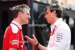 (L to R): James Allison (GBR) Ferrari Chassis Technical Director with Toto Wolff (GER) Mercedes AMG F1 Shareholder and Executive Director. 28.05.2016. Formula 1 World Championship, Rd 6, Monaco Grand Prix, Monte Carlo, Monaco, Qualifying Day.
