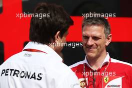 (L to R): Toto Wolff (GER) Mercedes AMG F1 Shareholder and Executive Director with James Allison (GBR) Ferrari Chassis Technical Director. 28.05.2016. Formula 1 World Championship, Rd 6, Monaco Grand Prix, Monte Carlo, Monaco, Qualifying Day.