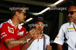 (L to R): Sebastian Vettel (GER) Ferrari with Felipe Massa (BRA) Williams and Beat Zehnder (SUI) Sauber F1 Team Manager. 26.05.2016. Formula 1 World Championship, Rd 6, Monaco Grand Prix, Monte Carlo, Monaco, Practice Day.