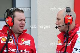 Dave Greenwood (GBR), Scuderia Ferrari and Jock Clear (GBR), Scuderia Ferrari 26.01.2016. Formula One Pirelli Wet Weather Testing, Paul Ricard, France. Tuesday.