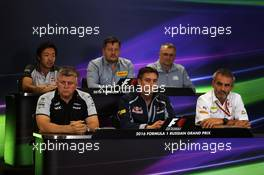 The FIA Press Conference (from back row (L to R)): Ayao Komatsu (JPN) Haas F1 Team Race Engineer; Paul Hembery (GBR) Pirelli Motorsport Director; John McQuilliam (GBR) Manor Racing Technical Director; Otmar Szafnauer (USA) Sahara Force India F1 Chief Operating Officer; James Key (GBR) Scuderia Toro Rosso Technical Director; Beat Zehnder (SUI) Sauber F1 Team Manager. 29.10.2016. Formula 1 World Championship, Rd 4, Russian Grand Prix, Sochi Autodrom, Sochi, Russia, Practice Day.