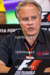 Gene Haas (USA) Haas Automotion President in the FIA Press Conference. 21.10.2016. Formula 1 World Championship, Rd 18, United States Grand Prix, Austin, Texas, USA, Practice Day.