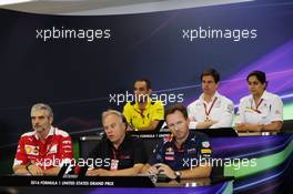 The FIA Press Conference (from back row (L to R)): Cyril Abiteboul (FRA) Renault Sport F1 Managing Director; Toto Wolff (GER) Mercedes AMG F1 Shareholder and Executive Director; Monisha Kaltenborn (AUT) Sauber Team Principal; Maurizio Arrivabene (ITA) Ferrari Team Principal; Gene Haas (USA) Haas Automotion President; Christian Horner (GBR) Red Bull Racing Team Principal.  21.10.2016. Formula 1 World Championship, Rd 18, United States Grand Prix, Austin, Texas, USA, Practice Day.