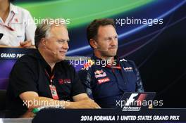(L to R): Gene Haas (USA) Haas Automotion President with Christian Horner (GBR) Red Bull Racing Team Principal in the FIA Press Conference. 21.10.2016. Formula 1 World Championship, Rd 18, United States Grand Prix, Austin, Texas, USA, Practice Day.
