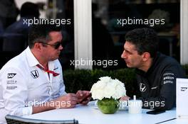 (L to R): Eric Boullier (FRA) McLaren Racing Director with Andrea Stella (ITA) McLaren Race Engineer. 24.03.2017. Formula 1 World Championship, Rd 1, Australian Grand Prix, Albert Park, Melbourne, Australia, Practice Day.