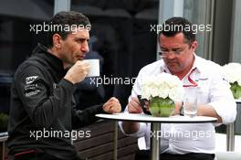 (L to R): Andrea Stella (ITA) McLaren Race Engineer with Eric Boullier (FRA) McLaren Racing Director. 26.03.2017. Formula 1 World Championship, Rd 1, Australian Grand Prix, Albert Park, Melbourne, Australia, Race Day.