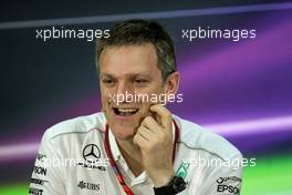 James Allison (GBR) Mercedes AMG F1 Technical Director in the FIA Press Conference. 14.04.2017. Formula 1 World Championship, Rd 3, Bahrain Grand Prix, Sakhir, Bahrain, Practice Day