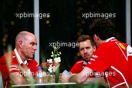 Sebastian Vettel (GER) Ferrari (Centre) with Jock Clear (GBR) Ferrari Engineering Director (Left). 13.04.2017. Formula 1 World Championship, Rd 3, Bahrain Grand Prix, Sakhir, Bahrain, Preparation Day.