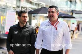 (L to R): Andrea Stella (ITA) McLaren Race Engineer with Eric Boullier (FRA) McLaren Racing Director. 10.11.2017. Formula 1 World Championship, Rd 19, Brazilian Grand Prix, Sao Paulo, Brazil, Practice Day.