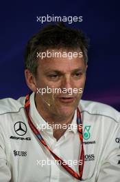 James Allison (GBR) Mercedes AMG F1 Technical Director in the FIA Press Conference. 09.06.2017. Formula 1 World Championship, Rd 7, Canadian Grand Prix, Montreal, Canada, Practice Day.