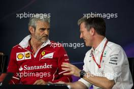 (L to R): Maurizio Arrivabene (ITA) Ferrari Team Principal and James Allison (GBR) Mercedes AMG F1 Technical Director in the FIA Press Conference. 09.06.2017. Formula 1 World Championship, Rd 7, Canadian Grand Prix, Montreal, Canada, Practice Day.