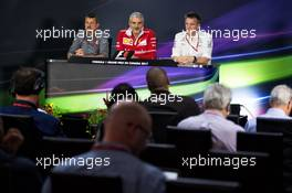 The FIA Press Conference (L to R): Guenther Steiner (ITA) Haas F1 Team Prinicipal; Maurizio Arrivabene (ITA) Ferrari Team Principal; James Allison (GBR) Mercedes AMG F1 Technical Director. 09.06.2017. Formula 1 World Championship, Rd 7, Canadian Grand Prix, Montreal, Canada, Practice Day.