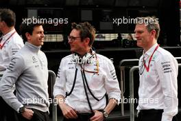 (L to R): Toto Wolff (GER) Mercedes AMG F1 Shareholder and Executive Director with Andrew Shovlin (GBR) Mercedes AMG F1 Engineer and James Allison (GBR) Mercedes AMG F1 Technical Director. 08.04.2017. Formula 1 World Championship, Rd 2, Chinese Grand Prix, Shanghai, China, Qualifying Day.