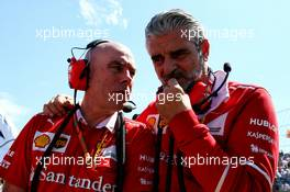 (L to R): Jock Clear (GBR) Ferrari Engineering Director with Maurizio Arrivabene (ITA) Ferrari Team Principal on the grid. 30.07.2017. Formula 1 World Championship, Rd 11, Hungarian Grand Prix, Budapest, Hungary, Race Day.