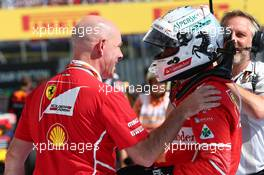 Jock Clear with Sebastian Vettel (GER) Ferrari SF70H. 30.07.2017. Formula 1 World Championship, Rd 11, Hungarian Grand Prix, Budapest, Hungary, Race Day.