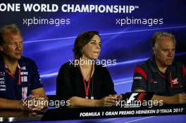 (L to R): Robert Fernley (GBR) Sahara Force India F1 Team Deputy Team Principal; Claire Williams (GBR) Williams Deputy Team Principal; and Gene Haas (USA) Haas Automotion President; in the FIA Press Conference. 01.09.2017. Formula 1 World Championship, Rd 13, Italian Grand Prix, Monza, Italy, Practice Day.