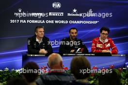 The FIA Press Conference (L to R): James Allison (GBR) Mercedes AMG F1 Technical Director; Cyril Abiteboul (FRA) Renault Sport F1 Managing Director; Mattia Binotto (ITA) Ferrari Chief Technical Officer. 06.10.2017. Formula 1 World Championship, Rd 16, Japanese Grand Prix, Suzuka, Japan, Practice Day.