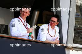 (L to R): James Allison (GBR) Mercedes AMG F1 Technical Director with Andrew Shovlin (GBR) Mercedes AMG F1 Engineer. 24.05.2017. Formula 1 World Championship, Rd 6, Monaco Grand Prix, Monte Carlo, Monaco, Preparation Day.