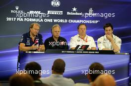 (L to R): Robert Fernley (GBR) Sahara Force India F1 Team Deputy Team Principal; Gene Haas (USA) Haas Automotion President; Zak Brown (USA) McLaren Executive Director; and Toto Wolff (GER) Mercedes AMG F1 Shareholder and Executive Director, in the FIA Press Conference. 20.10.2017. Formula 1 World Championship, Rd 17, United States Grand Prix, Austin, Texas, USA, Practice Day.