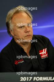 Gene Haas (USA) Haas Automotion President in the FIA Press Conference. 20.10.2017. Formula 1 World Championship, Rd 17, United States Grand Prix, Austin, Texas, USA, Practice Day.