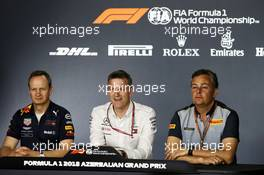 The FIA Press Conference (L to R): Paul Monaghan (GBR) Red Bull Racing Chief Engineer; James Allison (GBR) Mercedes AMG F1 Technical Director; Mario Isola (ITA) Pirelli Racing Manager. 27.04.2018. Formula 1 World Championship, Rd 4, Azerbaijan Grand Prix, Baku Street Circuit, Azerbaijan, Practice Day.