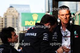 (L to R): Toto Wolff (GER) Mercedes AMG F1 Shareholder and Executive Director with Bradley Lord (GBR) Mercedes AMG F1 Communications Manager and James Allison (GBR) Mercedes AMG F1 Technical Director. 28.04.2018. Formula 1 World Championship, Rd 4, Azerbaijan Grand Prix, Baku Street Circuit, Azerbaijan, Qualifying Day.