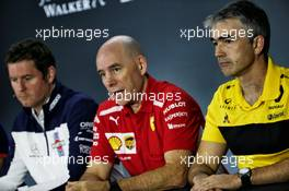 (L to R): Rob Smedley (GBR) Williams Head of Vehicle Performance with Jock Clear (GBR) Ferrari Engineering Director and Nick Chester (GBR) Renault Sport F1 Team Chassis Technical Director in the FIA Press Conference. 09.11.2018. Formula 1 World Championship, Rd 20, Brazilian Grand Prix, Sao Paulo, Brazil, Practice Day.