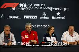 The FIA Press Conference (L to R): Gene Haas (USA) Haas Automotion President; Maurizio Arrivabene (ITA) Ferrari Team Principal; Claire Williams (GBR) Williams Deputy Team Principal; Zak Brown (USA) McLaren Executive Director. 19.10.2018. Formula 1 World Championship, Rd 18, United States Grand Prix, Austin, Texas, USA, Practice Day.