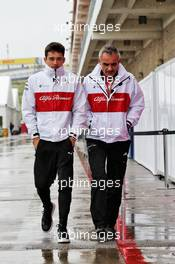 (L to R): Charles Leclerc (MON) Sauber F1 Team with Beat Zehnder (SUI) Sauber F1 Team Manager. 19.10.2018. Formula 1 World Championship, Rd 18, United States Grand Prix, Austin, Texas, USA, Practice Day.