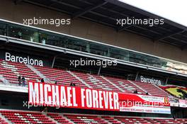 Michael Schumacher (GER) banner in the grandstand. 28.02.2019. Formula One Testing, Day Three, Barcelona, Spain. Thursday.